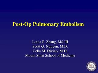 Post-Op Pulmonary Embolism