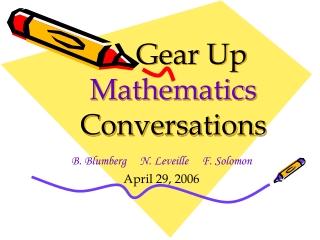 Gear Up  Mathematics Conversations