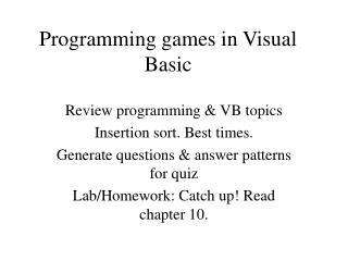 Programming games in Visual Basic