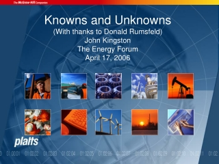 Knowns and Unknowns (With thanks to Donald Rumsfeld) John Kingston The Energy Forum April 17, 2006