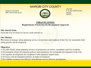 Telephone: 020 344194 Web: nairobi.go.ke