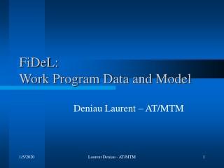 FiDeL: Work Program Data and Model