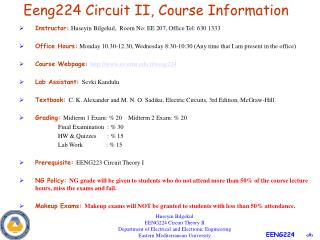 Eeng224 Circuit II, Course Information