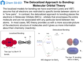 The Delocalized Approach to Bonding: Molecular Orbital Theory