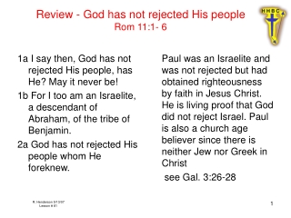 Review - God has not rejected His people Rom 11:1- 6