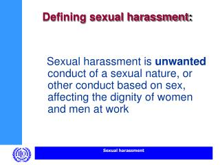 Defining sexual harassment :