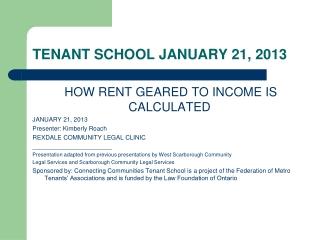 TENANT SCHOOL JANUARY 21, 2013
