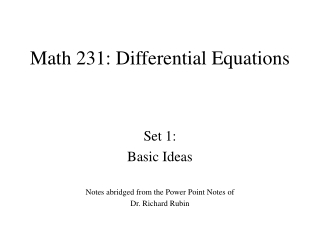 Math 231: Differential Equations
