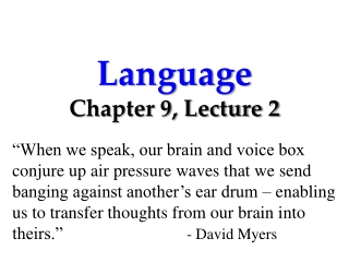 Language Chapter 9, Lecture 2
