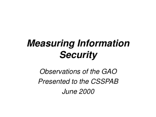 Measuring Information Security