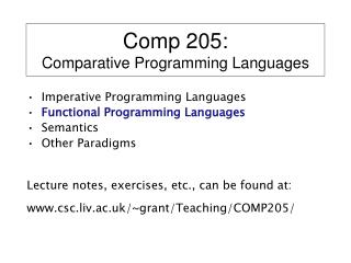 Comp 205: Comparative Programming Languages
