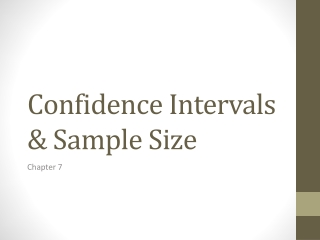 Confidence Intervals & Sample Size
