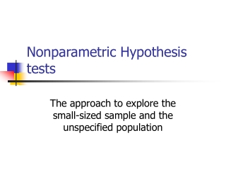 Nonparametric Hypothesis tests