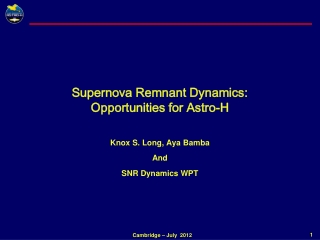Supernova Remnant Dynamics:  Opportunities for Astro-H