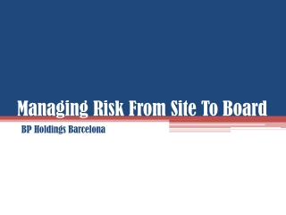 Managing Risk From Site To Board, BP Holdings Barcelona