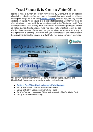 Travel Frequently by Cleartrip Winter Offers