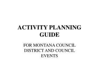 ACTIVITY PLANNING GUIDE