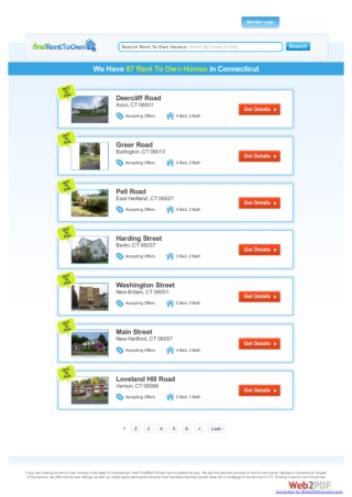 Rent To Own Homes in CT