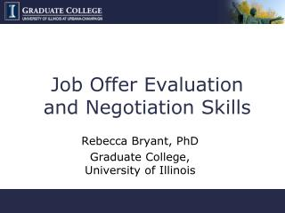 Job Offer Evaluation and Negotiation Skills