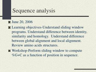 Sequence analysis