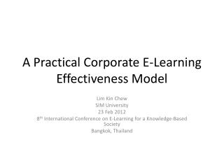 A Practical Corporate E-Learning Effectiveness Model