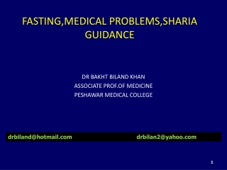 FASTING,MEDICAL PROBLEMS,SHARIA GUIDANCE