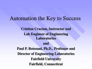 Automation the Key to Success