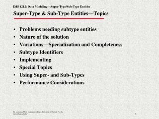 Super-Type & Sub-Type Entities—Topics
