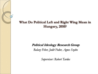 What Do Political Left and Right Wing Mean in Hungary, 2010?