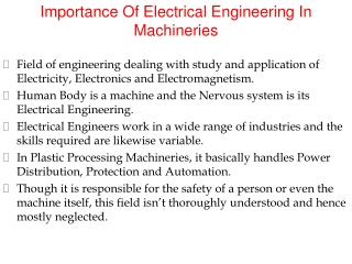 Importance Of Electrical Engineering In Machineries