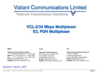 VCL-2/34 Mbps Multiplexer E3, PDH Multiplexer