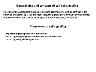 General idea and concepts of cell-cell signaling
