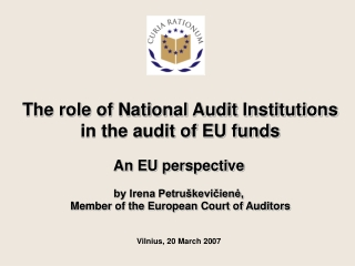 The role of National Audit Institutions in the audit of EU funds