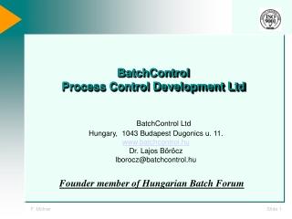 BatchCo n trol  Process Control Development Ltd