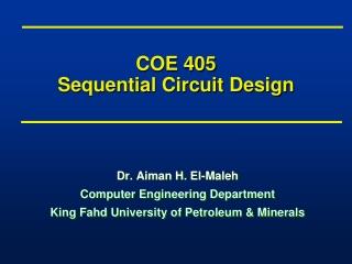 COE 405 Sequential Circuit Design