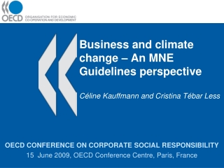 OECD CONFERENCE ON CORPORATE SOCIAL RESPONSIBILITY