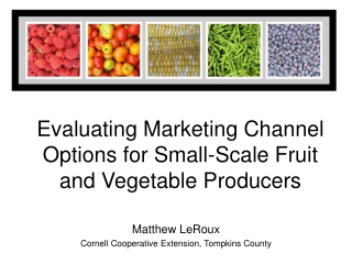 Evaluating Marketing Channel Options for Small-Scale Fruit and Vegetable Producers
