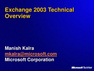 Exchange 2003 Technical Overview