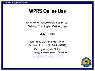 WPRS Online Use