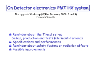 On Detector electronics: PMT HV system