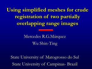 Using simplified meshes for crude registration of two partially overlapping range images