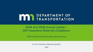 Jim Fox  | Hazardous Materials Specialist 2018