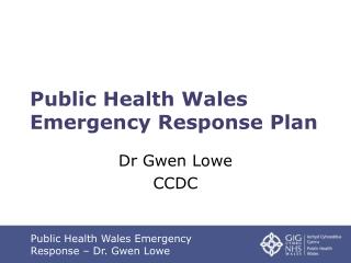 Public Health Wales Emergency Response Plan