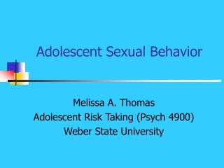 Adolescent Sexual Behavior