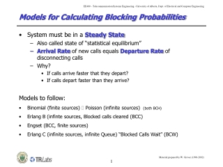 Models for Calculating Blocking Probabilities