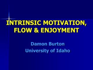INTRINSIC MOTIVATION,  FLOW & ENJOYMENT