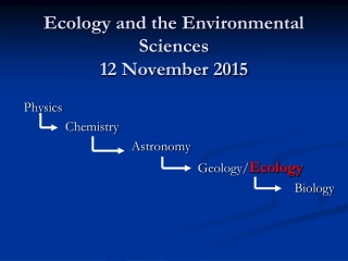 Ecology and the Environmental Sciences 12 November 2015