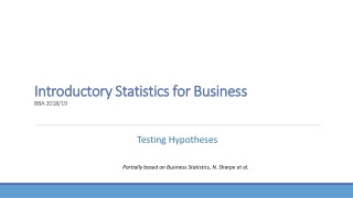 Introductory Statistics  for Business BBA 2018/19