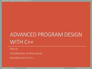 Advanced Program Design with C++