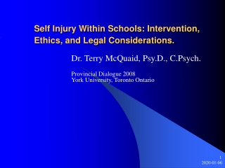 Self Injury Within Schools: Intervention, Ethics, and Legal Considerations.